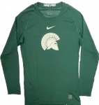 Baseball-Green Long Sleeve Compression Shirt
