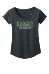 *Ice Hockey Women's Charcoal Grey Scoop-Neck T-Shirt***Special Order Only***(Order by Feb 27th)