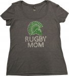 **Rugby Mom Grey Bling T-Shirt**Special Order***