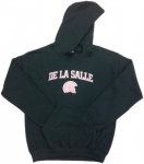 Women's Hooded Sweatshirt - Charcoal Grey with Pink Lettering