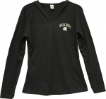 *Women's Long Sleeve Hooded Shirt - Charcoal Grey