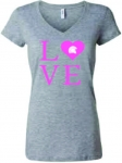 *Women's LOVE V-Neck T-Shirt - Grey