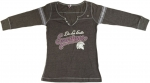 Women's Henley T-Shirt - Grey/Pink