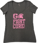 **Women's Breast Cancer Awareness T-Shirt - Grey